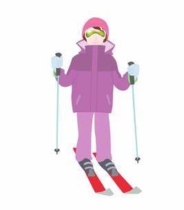 女性一人でスキーの素材 [FYI00280406]