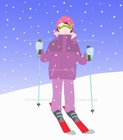 女性一人のスキーの素材 [FYI00280407]