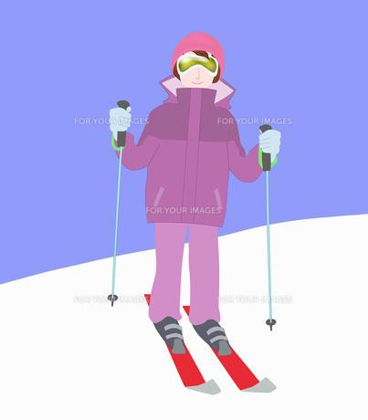 女性一人でスキーの素材 [FYI00280411]