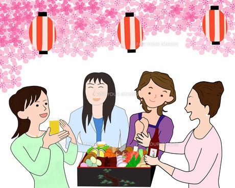 女子会で花見の素材 [FYI00280521]
