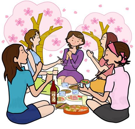 女子会で花見の素材 [FYI00280526]