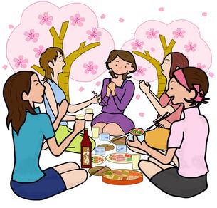 女子会で花見の写真素材 [FYI00280526]