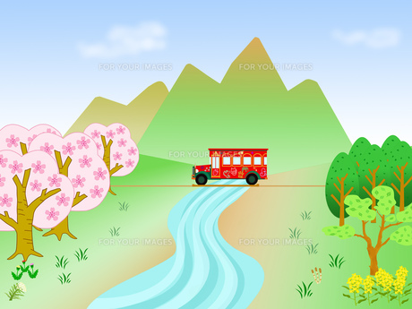 春の風景の遊覧バスの写真素材 [FYI00280570]