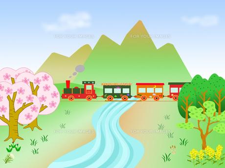 春の風景のメルヘン列車の素材 [FYI00280581]