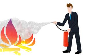 ビジネスマンの消火訓練の写真素材 [FYI00280590]