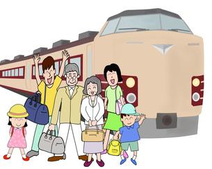 三世代で鉄道の旅の素材 [FYI00280665]