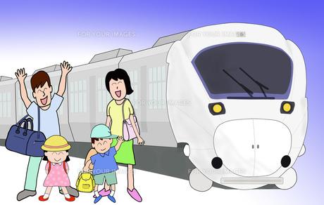 家族で鉄道の旅の写真素材 [FYI00280673]