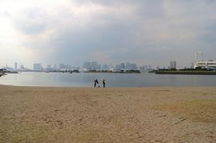 お台場の海岸の砂浜で遊ぶ若い女性の素材 [FYI00280792]