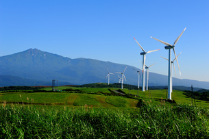 風車と鳥海山の素材 [FYI00281341]