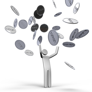 空から降ってくるお金と人の写真素材 [FYI00281619]