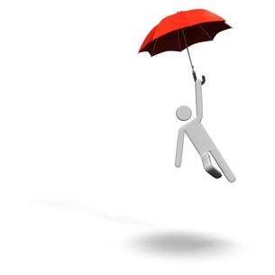 傘で飛び降りる人 テキストスペース付きの写真素材 [FYI00281622]