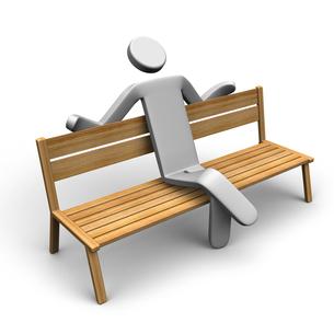 ベンチに寄りかかりリラックスする人の写真素材 [FYI00281642]