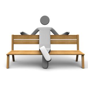 ベンチでリラックスする人 正面図の写真素材 [FYI00281653]