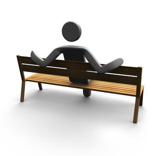 ベンチに寄りかかりリラックスする人 背面図の写真素材 [FYI00281654]
