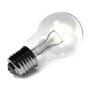 置かれている灯りのついた電球の写真素材 [FYI00281667]