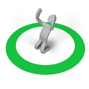 緑の丸印の上でガッツポーズをする人の写真素材 [FYI00281682]
