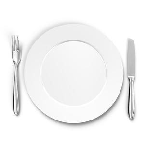 カトラリーと皿 上面図の写真素材 [FYI00281703]