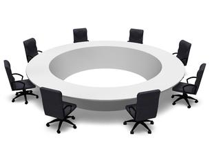円卓を囲むビジネスチェアの写真素材 [FYI00281713]