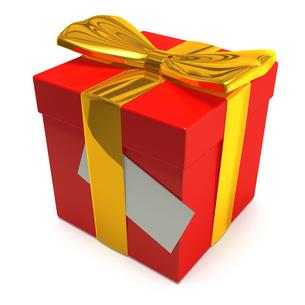 赤いプレゼントボックスと金のリボンの写真素材 [FYI00281729]