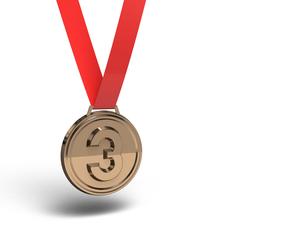 銅メダル テキストスペース付きの写真素材 [FYI00281735]