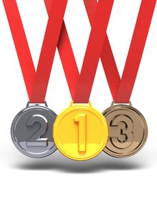 3メダル 正面図の写真素材 [FYI00281741]