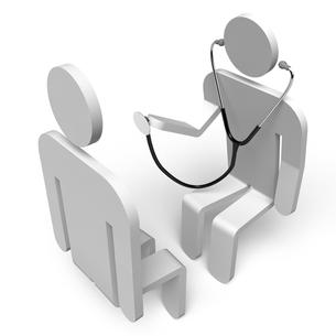 聴診器を持った医者と患者 上面図の素材 [FYI00281749]