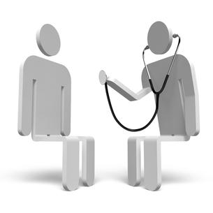 聴診器を持った医者と患者 正面図の素材 [FYI00281759]