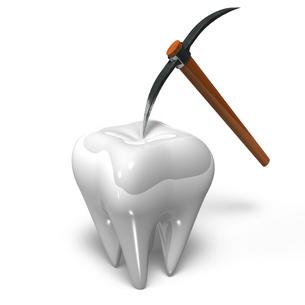 きれいな歯とつるはしの写真素材 [FYI00281784]