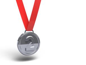 銀メダル テキストスペースありの写真素材 [FYI00281787]
