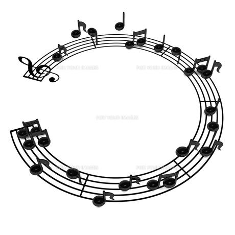 円形の五線譜 上面図 背景素材用の写真素材 [FYI00281790]