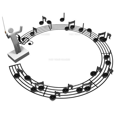 円形の五線譜と指揮者 背景素材用の写真素材 [FYI00281792]