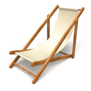 木製のビーチチェアの写真素材 [FYI00281805]