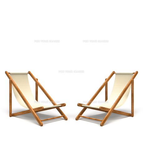 1組のビーチチェア テキストスペース付きの写真素材 [FYI00281807]