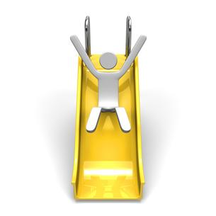滑り台で滑る人 正面図の写真素材 [FYI00281817]