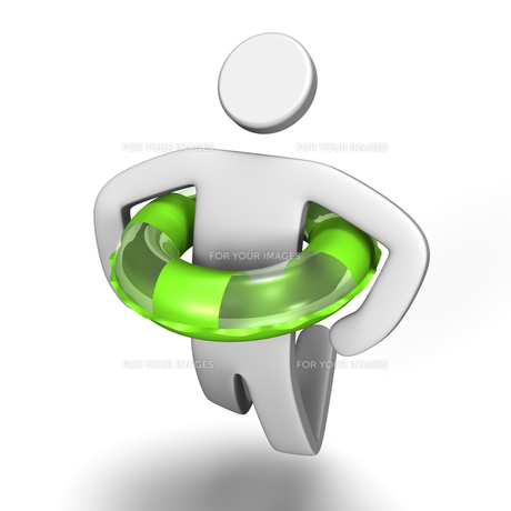 浮き輪をつけてジャンプする人 上面図の写真素材 [FYI00281820]