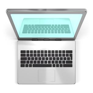 ラップトップパソコン 上面図の写真素材 [FYI00281821]