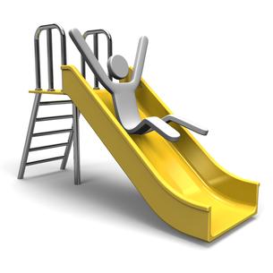 滑り台で滑る人の写真素材 [FYI00281822]