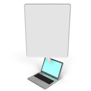 吹き出しとノートパソコンの写真素材 [FYI00281826]