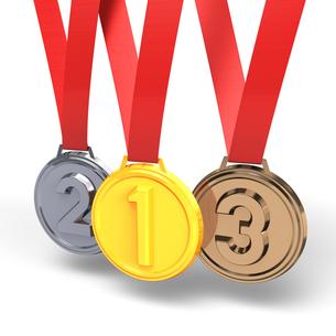 3つのメダルの写真素材 [FYI00281827]