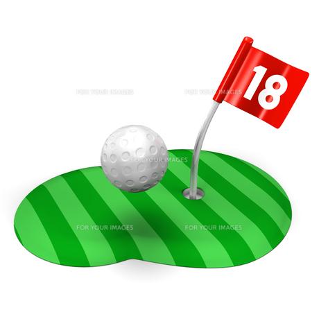 ゴルフのグリーンとボールの写真素材 [FYI00281828]