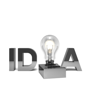 IDEAのアルファベットと電球 正面図の写真素材 [FYI00281831]