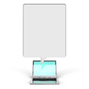 吹き出しとノートパソコン 正面図の写真素材 [FYI00281832]