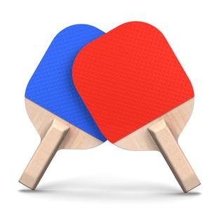 赤と青の卓球ベラ 正面図の写真素材 [FYI00281840]