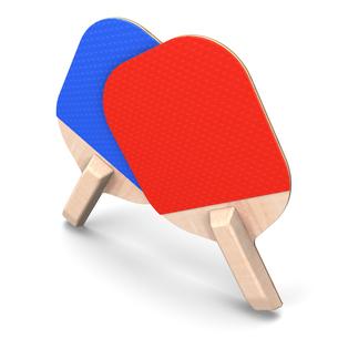 赤と青の卓球ベラの写真素材 [FYI00281842]