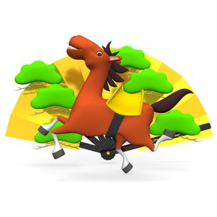 陽気な馬と金の扇子の写真素材 [FYI00281848]