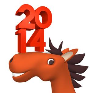 2014数字を顔にのせた陽気な馬の写真素材 [FYI00281851]