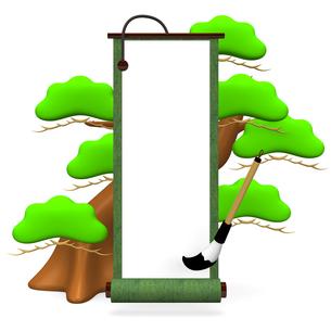 緑の巻物と松の木の写真素材 [FYI00281859]