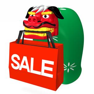SALEショッピングバッグをくわえる獅子舞の写真素材 [FYI00281860]