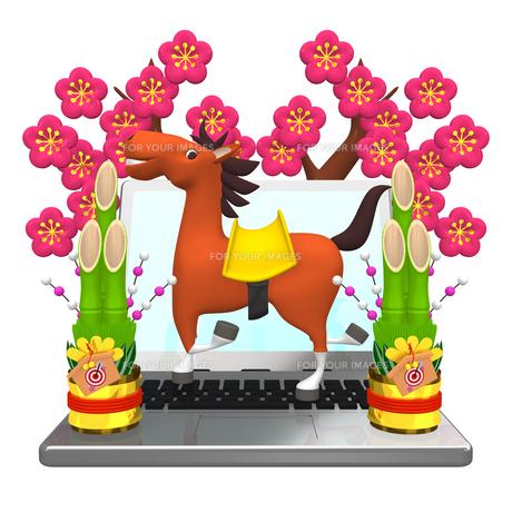 ノートバソコンに乗った馬の写真素材 [FYI00281865]