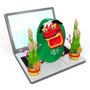 ノートパソコンにのった獅子舞の写真素材 [FYI00281868]